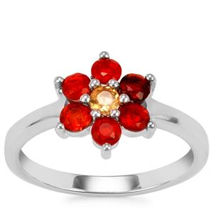 Mexican Fire Opal Ring in Sterling Silver 0.52ct