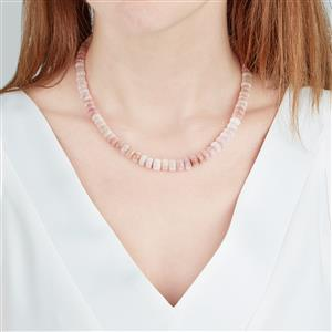 Peruvian Pink Opal Graduated Bead Necklace in Sterling Silver 132cts
