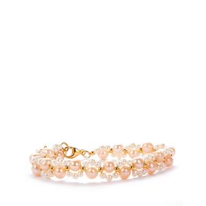 Kaori Cultured Pearl Bracelet in Gold Tone Sterling Silver