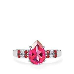 Mystic Pink, White Topaz Ring with Pink Tourmaline in Sterling Silver 2.34cts