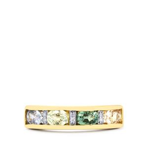 Natural Sakaraha Rainbow Sapphire & Diamond 9K Gold Ring ATGW 1.36cts