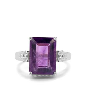 Zambian Amethyst Ring with White Topaz in Sterling Silver 7.74cts