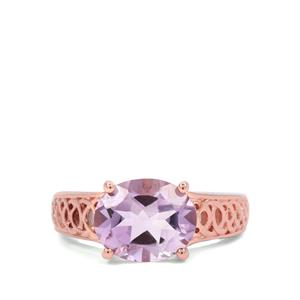 4ct Rose De France Amethyst Two Tone Sterling Silver Ring