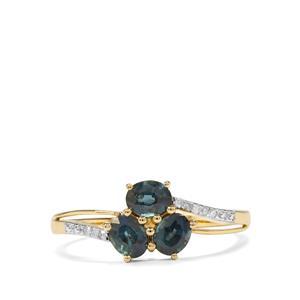 Natural Nigerian Blue Sapphire & Diamond 9K Gold Ring ATGW 1.11cts