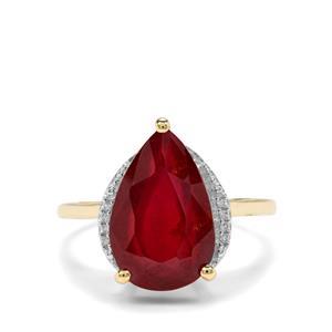 Malagasy Ruby & White Zircon 9K Gold Ring ATGW 6.27cts (F)