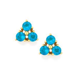 1.04ct Neon Apatite 10K Gold Earrings