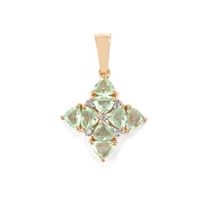 Paraiba Tourmaline Pendant with Diamond in 10K Gold 1.30cts