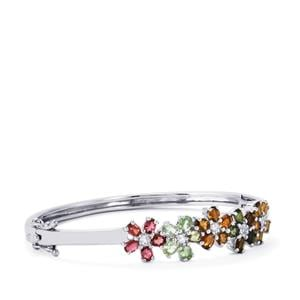 Rainbow Tourmaline Oval Bangle with White Topaz in Sterling Silver 5.07cts
