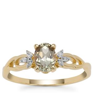 Csarite® Ring with Diamond in 9K Gold 0.85ct