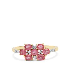 Padparadscha Sapphire Ring with Diamond in 9K Gold 1.13cts