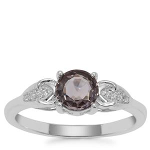 Burmese Spinel Ring with White Zircon in Sterling Silver 1.03cts