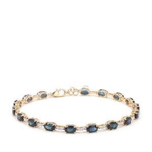 Australian Blue Sapphire Bracelet with Diamond in 9K Gold 10.38cts