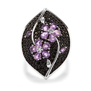 Rose De France Amethyst, Black Spinel Ring with White Topaz in Sterling Silver 4.39cts