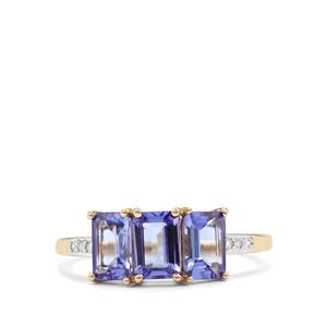 AA Tanzanite Ring with Diamond in 10K Gold 1.71cts