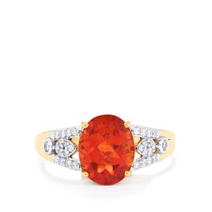 Oregon Sunstone Ring with Diamond in 18K Gold 2.53cts