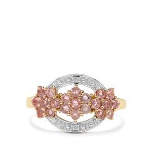 Padparadscha Sapphire & Diamond 10K Gold Ring ATGW 0.93cts