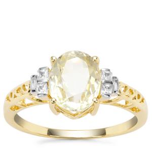 Minas Novas Hiddenite Ring with White Zircon in 9K Gold 2.65cts