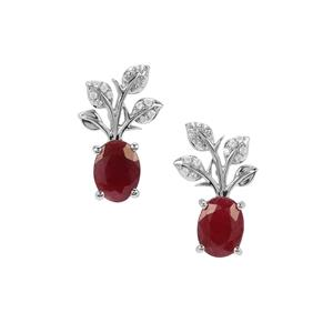 Bangalore Ruby Flower pot Earrings with White Zircon in Sterling Silver 3.61cts