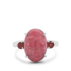 Thulite Ring with Nampula Garnet in Sterling Silver 7.30cts