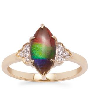 AA Ammolite Ring with White Zircon in 9K Gold