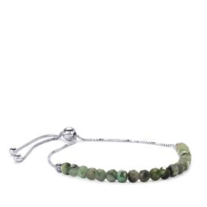Carnaiba Brazilian Emerald Slider Bead Bracelet in Sterling Silver 9cts