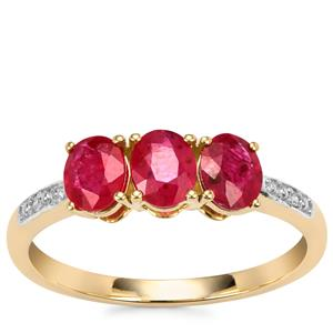 Montepuez Ruby Ring with Diamond in 10k Gold 1.14cts