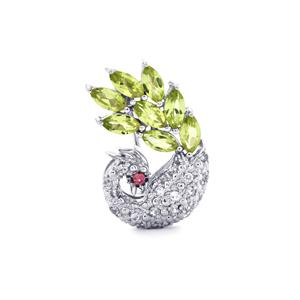 Rhodolite Garnet, Changbai Peridot Brooch with White Zircon in Sterling Silver 1.62cts