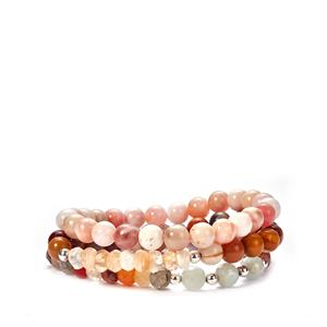 Pink Opal, Mookite, Multicolour Quartz Set of 3 Elastic Bracelets with Multi-colour Beryl in Sterling Silver 227.60cts