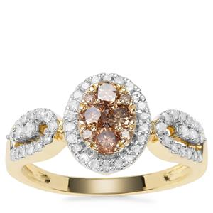 Champagne Diamond Ring with White Diamond in 9K Gold 0.79ct
