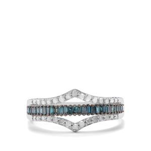 1/2ct Blue & White Diamond 9K White Gold Ring