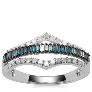 Blue Diamond Ring with White Diamond in 9K White Gold 0.51ct
