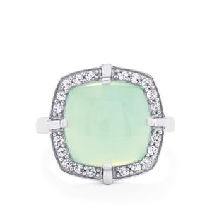 Aquaprase™ Ring with White Topaz in Platinum Plated Sterling Silver 7.54cts