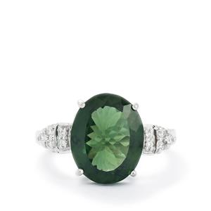 Green Apatite & Diamond 14k White Gold Tomas Rae Ring ATGW 5.39cts