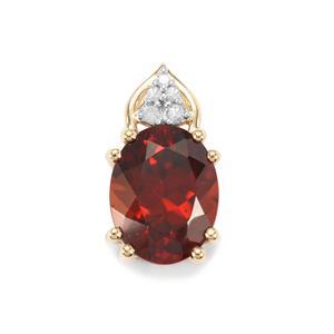 Zanzibar Sunburst Zircon & Diamond 9K Gold Pendant ATGW 2.89cts