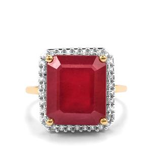 Malagasy Ruby Ring with White Zircon in 9K Gold 12.63cts (F)
