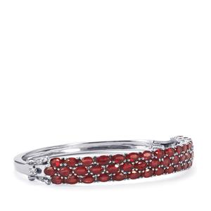 Malagasy Ruby Oval Bangle in Sterling Silver 17.87cts (F)