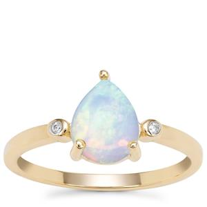 Kelayi Opal Ring with White Zircon in 9K Gold 1.05cts
