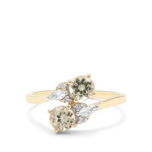 Csarite® & White Zircon 9K Gold Ring ATGW 1.32cts