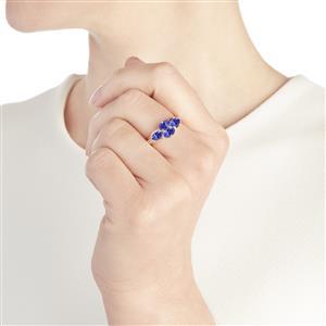 AA Tanzanite & White  Zircon 10K Gold Ring ATGW 1.94cts