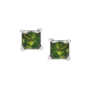 1/2ct Green Diamond 9K White Gold Earrings