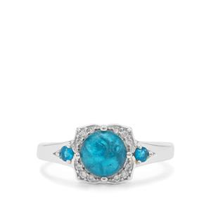 Neon Apatite Ring with White Zircon in Sterling Silver 1.95cts
