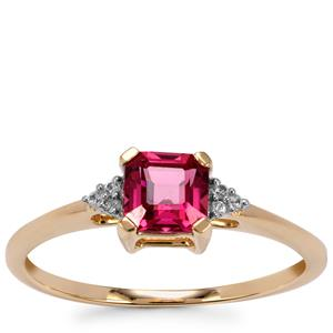 Malawi Garnet Ring with White Zircon in 9K Gold 0.82cts