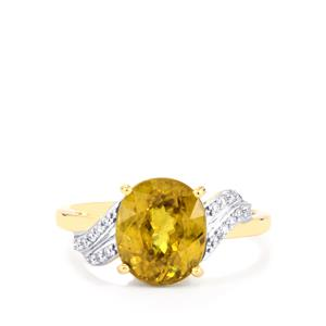 Ambilobe Sphene Ring with Diamond in 18K Gold 3.90cts