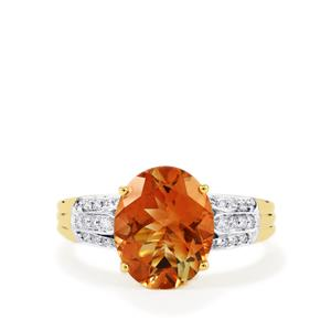 Oregon Sunstone Ring with White Diamond in 18k Gold 3.20cts