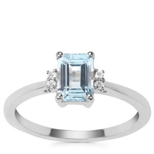 Sky Blue Topaz Ring with White Topaz in Sterling Silver 1.19cts