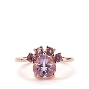Rose De France Amethyst Mau Ring in Rose Gold Plated Sterling Silver 2.77cts