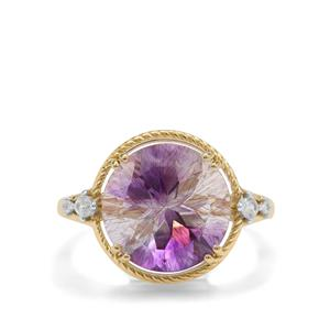 Boudi Hourglass Amethyst Ring with White Zircon in 9K Gold 5.70cts