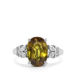 Ambilobe Sphene Ring with Diamond in 18K White Gold 4.09cts