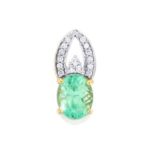 Colombian Emerald Pendant with Diamond in 18K Gold 1.91cts