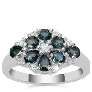 Blue Sapphire Ring with White Zircon in Sterling Silver 1.92cts